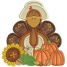 turkey wearing a big hat thanksgiving applique machine