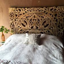 Carved Wood Headboard Crafted Wooden Bed Panel Siam Sawadee