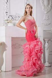 coral red mermaid prom dress high low beaded fashionable prom dresses