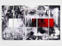 Tableau Abstrait Rouge Et Gris by Tableau Abstrait Peinture Contemporaine Et Triptyque