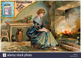 cinderella by the kitchen fireplace sitting by the cinders