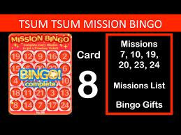 disney tsum tsum bingo card 8 completed missions 7 10 19 20