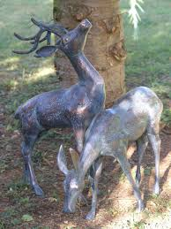 small metal deer garden statues pair bronze stag statues candle