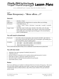 time frequency lesson plan lesson plan english as a second or
