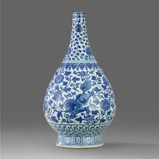 Blue Bottle Vase A Blue And White Pear Shaped Bottle Vase Late Ming Dynasty 17th