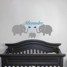 personalised name 3 elephants wall decal nursery baby name wall