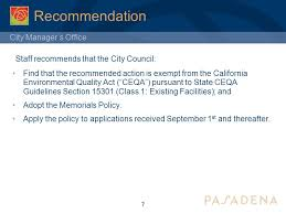 Council On Environmental Quality Guidelines City Manager S Office Approval Of Monument Policy City