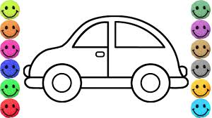 simple example car coloring pages drawing for kids learn