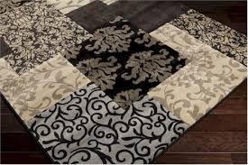 Fall Area Rugs Surya Harmony Ham 1058 Safari Tan Elephant Gray Coal Black