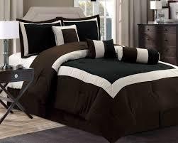 Polyester Microfiber Comforter Modern Full Size Comforter Set With Lightweight Black Brown