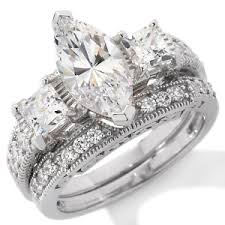 bridal set rings jewellery absolute sterling silver marquise bridal set ring