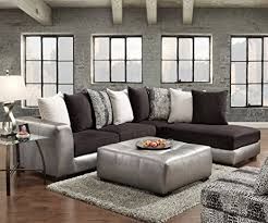 Sectional Sofa With Ottoman Roundhill Furniture Shimmer Pewter Microfiber