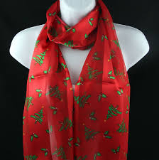 christmas trees u0026 holly womens berry red striped holiday scarf