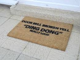 flooring door bell broken yell doormat wiht funny joke coir