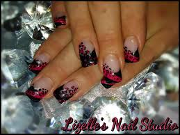 black tips with pink leopard print design hand painted nail