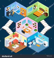 multistory isometric apartment interior living sleeping stock