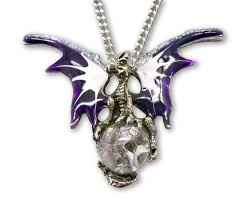 silver crystal ball necklace images Purple dragon with crystal ball medieval renaissance pendant jpg