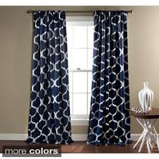 Navy Patterned Curtains Moroccan Tile 95 Inch Window Curtain Pair Overstock Shopping