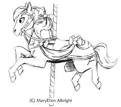 8 images of simple coloring page carousel horse carousel horse