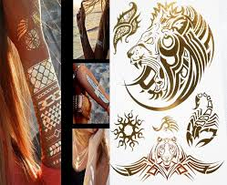 new arrival flash tattoo gold henna lion head metallic letters