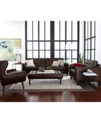 Tufted Leather Sofas Bray Button Tufted Leather Sofa Furniture Macy S