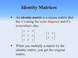 warm up inverse matrices three main topics today identity matrix