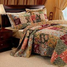 country floral patchwork cotton quilt bedding