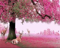 beibehang custom wallpaper big trees sika deer cherry blossom