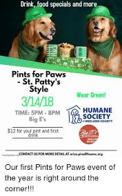 Food St Memes - drink food specials and more peakers pints for paws st patty s