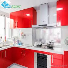 waterproof kitchen cabinets vinyl paper for kitchen cabinets with red glossy wall stickers diy