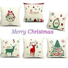 Christmas Decorative Pillow Cases hosl merry christmas series cotton linen throw pillow case