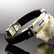 cross bracelet leather images Punk rock cool male leather stainless steel cross bracelets jpg