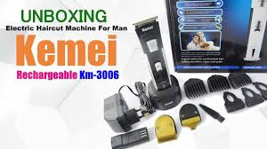 unboxing kemei rechargeable hair clipper km 3006 youtube