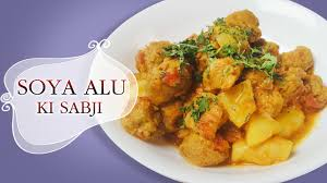 Potatoes Main Dish - healthy soya alu sabzi fresh dill and potatoes dry curry main