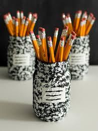 35 Halloween Mason Jars Craft Ideas For Using Mason Jars For by Desk Organizer Idea Composition Book Mason Jar Mason Jar Crafts