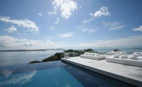 interior amusing infinity pool with chic double white longer and