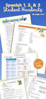 Spanish e Two and Three Student Handouts Cheat Sheets for an