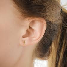 flat bar stud earrings gold dipped dogeared