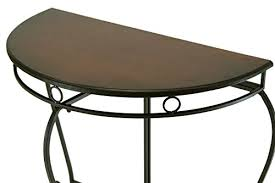 Glamour Home Adalia Metal Console Table Half Moon Half Round Black