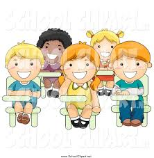 child sitting clipart clip art of diverse happy kids sitting at their desks by