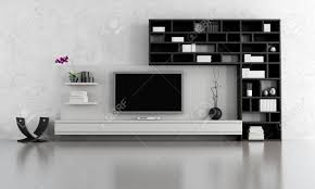 black and white living room with tv stand and bookcase rendering