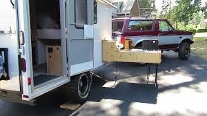 Camper Trailer Kitchen Designs Off Road Cargo Trailer Conversion U0026 Slide Out Kitchen Youtube