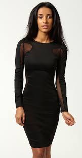 sleeved black dress black sleeve contrast mesh yoke bodycon dress abaday