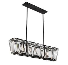 Matching Chandelier And Island Light 5 Light Halogen Linear Chandelier In Black Suspension Collection