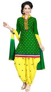 justkartit women u0027s unstitched green u0026 yellow colour wedding wear