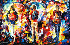 People Painting by Leonid Afremov Oil On Canvas Palette Knife Buy Original