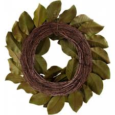 26 artificial magnolia leaf wreath realistic green 2833020gr