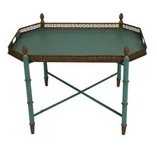 g c interiors blue tray table with metal ornaments