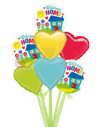 welcome home balloon bouquet welcome home house balloons delivered inflated bloonaway