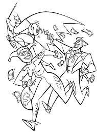 joker harley quinn pursued batman coloring netart